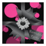 Elegant Hot Pink Black Birthday Party Invites