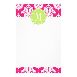 Elegant Hot Pink Damask Personalised Stationery