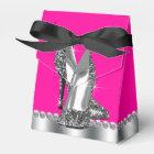 Elegant Hot Pink Glitter High Heel Shoe Favour Box