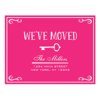 Elegant Hot Pink Key Moving Announcement Postcard