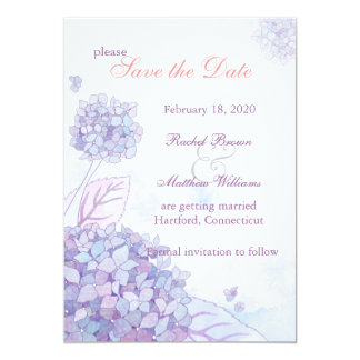 Elegant Hydrangea Blooms Floral Save the Date Card