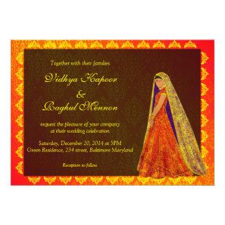 Elegant Indian Bride Damask Wedding Announcement