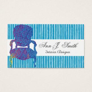 Elegant Interior Designer Striped Blue Business Card