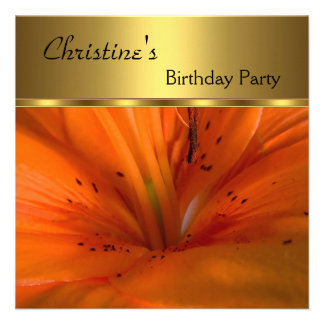 Elegant Invite Birthday Party Gold Orange Flower Invite