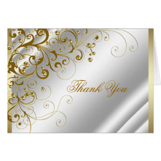 Elegant Ivory and Gold Thank You Card