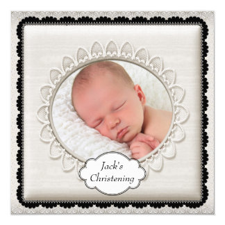 Elegant Ivory Photo Christening 13 Cm X 13 Cm Square Invitation Card