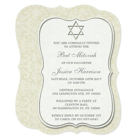Elegant Jewish Star Of David Bat Mitzvah Card