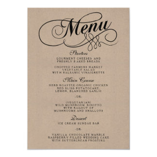 Elegant Kraft Wedding Menu Templates Card