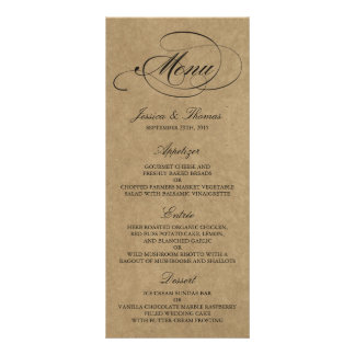 Elegant Kraft Wedding Menu Templates Personalised Rack Card