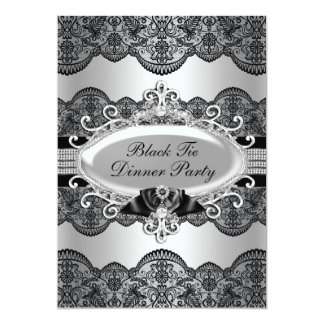 Elegant Lace & Bow Black Tie Dinner Party Card