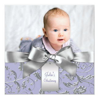 Elegant Lavender Purple and Gray Christening Card