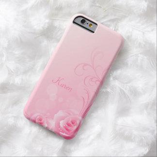 Elegant Light Pink Swirl Rose Monogrammed iPhone 6 Case