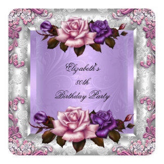 Elegant Lilac Pink Purple Roses Birthday Party 2 13 Cm X 13 Cm Square Invitation Card