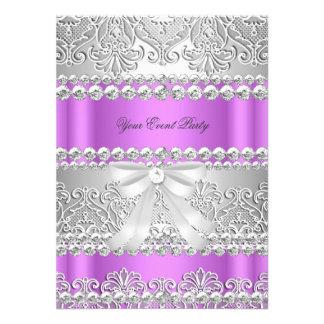 Elegant Lilac Purple Silver Diamond Lace Party Invite