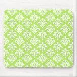 Elegant Lime Green and White Damask Mousepad