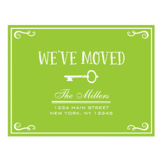 Elegant Lime Green Key Moving Announcement Postcard