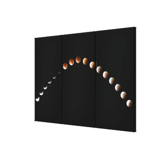 Elegant Lunar Eclipse Mullion- Sequence Triptych Canvas Print