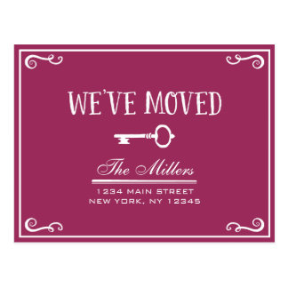 Elegant Magenta Key Moving Announcement Postcard