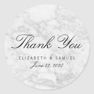 Elegant Marble White Grey Circle Thank You Sticker