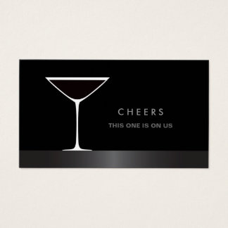Elegant martini cocktail glass drink voucher business card