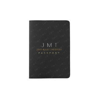 elegant masculine monogram black passport holder