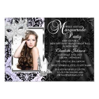 Elegant Mask Heels Masquerade Sweet 16 Lavender Card