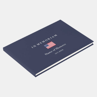 Elegant Memorial United States Flag Guest Book