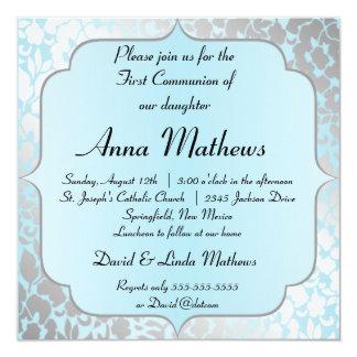 Elegant Metallic Blue First Communion Invitation