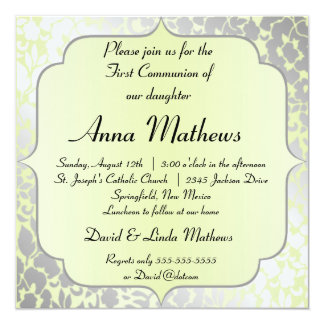 Elegant Metallic Pistachio First Communion Card