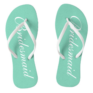 Elegant mint green bridesmaid wedding flip flops