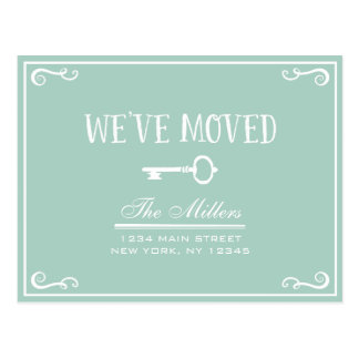 Elegant Mint Green Key Moving Announcement Postcard