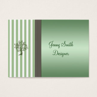 Elegant mint green tree stripes light gray business card