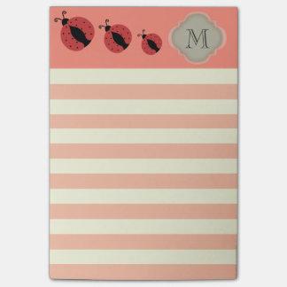 Elegant modern cute ladybug stripes monogram post-it® notes