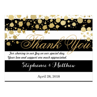 Elegant Modern Faux Gold Splatters and Stripes Postcard