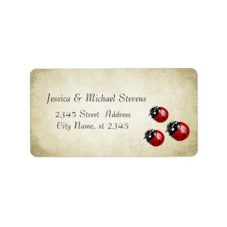 Elegant modern gentle wedding ladybugs vintage address label