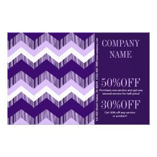 elegant modern girly fashion white purple chevron 14 cm x 21.5 cm flyer