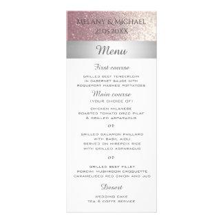 Elegant modern glittery silver stripe menu
