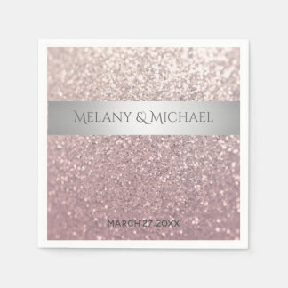Elegant modern glittery silver stripe paper napkin