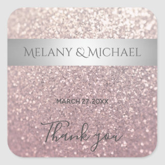 Elegant modern glittery silver stripe Thank you Square Sticker