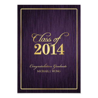 Elegant Modern Gold Class of 2014 Graduation 13 Cm X 18 Cm Invitation Card
