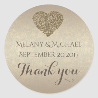 Elegant modern golden abstract heart thank you round sticker