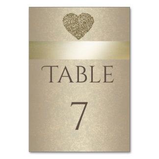 Elegant modern golden abstract heart wedding table cards
