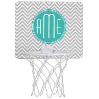 Elegant Modern Gray Chevron and Mint Monogram Mini Basketball Hoop