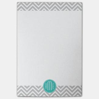 Elegant Modern Gray Chevron and Mint Monogram Post-it® Notes