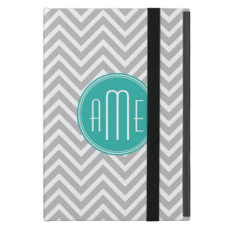 Elegant Modern Grey Chevron and Mint Monogram Case For iPad Mini