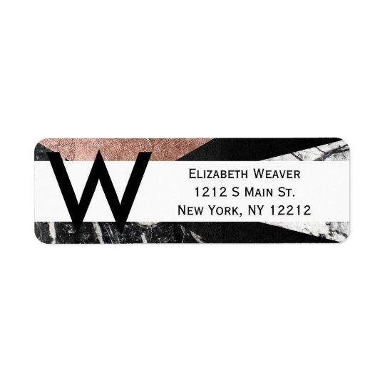 Elegant Modern Marble, Rose Gold, & Black Triangle Return Address Label