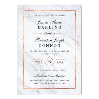 Elegant Modern Marble & Rose Gold Wedding Card