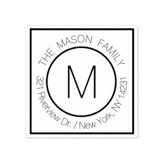 Elegant Modern Monogram Name with Return Address Rubber Stamp