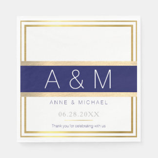 elegant / modern monogrammed wedding party paper napkin