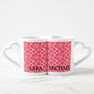 Elegant modern romantic giraffe / add name coffee mug set